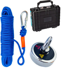 Fishing Magnet Kit 300 Lbs Pull Force Neodymium Rare Earth Rope Case