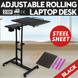 Adjustable Height Rolling Laptop Desk Table Shelves Comfortable Over Sofa Newest