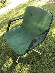 Vintage Mid Century Modern Knoll Steelcase Avocado Green Tweed Office Chair