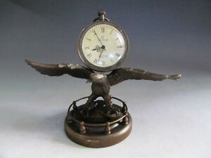 Collect Bronze Copper Eagle Sculpture Mechanical Clock Table Watch Statue