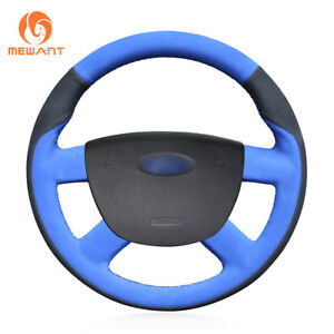 Diy Blue Black Suede Steering Wheel Cover For Ford Kuga Focus 2 C max 2007 2010
