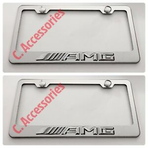 2x Amg Mercedes 3d Raised Stainless Steel Chrome Finished License Plate Frame