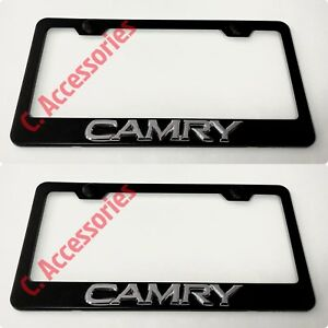 2x Camry Toyota 3d Raised Emblem Black Stainless Steel License Plate Frame