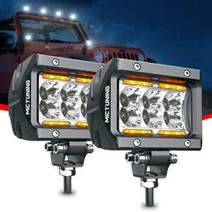 Mictuning Led Pods 2pcs 4 18w Off Road Spot Led Light Bar W Amber Marker Light