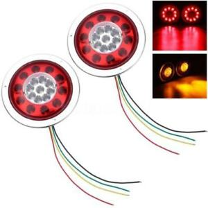 2pcs 4 3inch Round 19 Led Truck Trailer Lorry Brake Stop Turn Tail Light 12v 24v