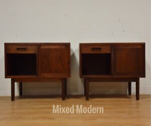 Pair Walnut Nightstands Mid Century Modern Founders Danish Style