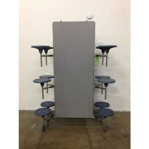 2 Available Folding Lunchroom Cafeteria Table Grey Top W 12 Blue Stools 12ft