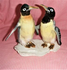 A Beautiful Karl Ens Volkstedt German Porcelain Emperor Penguins Figurine