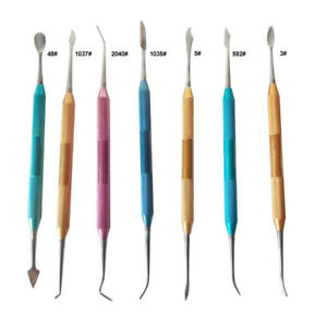 7pack Dental Stainless Steel Colorful Wax Plaster Carving Tool Set Color Random