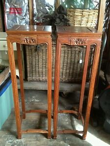Pair Chinese Tall Rosewood Stands With Drawer Vase Urn Plant Table Upstate Ny