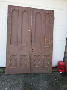 Mar 245 Match Pair Antique Gothic Double Doors Carved 68 X 94 75 X 2