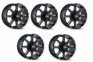 Cali Off road 9100 2952m0 Set Of 5 Busted 20x9 Satin Black milled Spokes Wheels