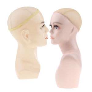 2pcs Realistic Plastic Male Female Mannequin Head Display Wig Hat 22 20