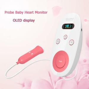 Digital Fda Fetal Doppler Silica Gel 2mhz Probe Baby Heart Monitor Backlight Lcd