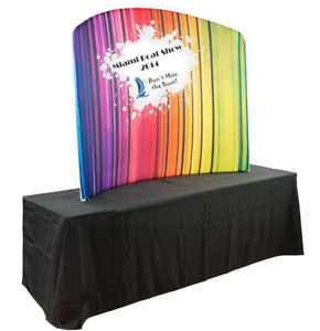 Custom Printed 73 Curved Tabletop Exhibit Display Board W Carrying Case