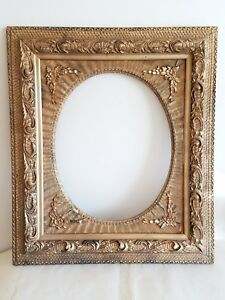 Antique Large Ornate Frame Gold Gilt Wood Oval Opening Picture Victorian 25 29