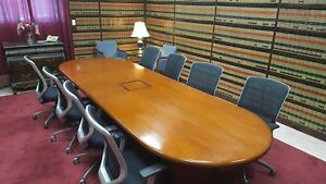 Custom Built Cherry Wood And Veneer Conference Table With Internet