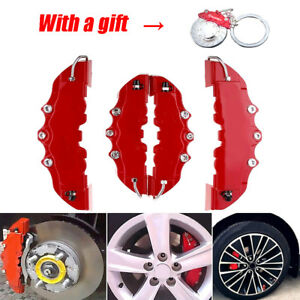 3d Red 4pcs Car Universal Disc Brake Caliper Covers Front Rear Kit W Keyring