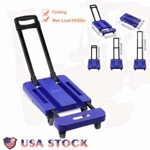 440lb Hand Truck Dolly Collapsible Cart Luggage Trolley Cart 6 Wheels New Br