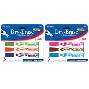 Bazic Bright Color Chisel Tip Dry erase Markers 3 pack