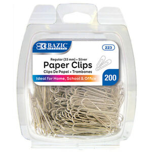 Bazic No 1 Regular 33mm Silver Paper Clips 200 pack