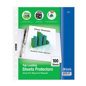 Bazic Top Loading Sheet Protectors 100 pack Pack Of 12