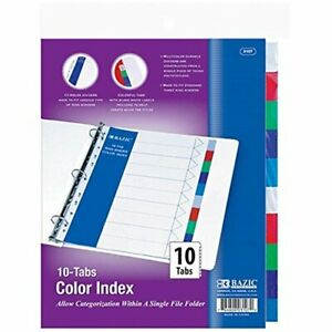 Bazic 3 ring Binder Dividers W 10 color Tabs
