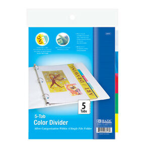 Bazic 3 ring Binder Dividers W 5 insertable Color Tabs