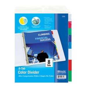 Bazic 3 ring Binder Dividers W 8 insertable Color Tabs