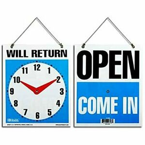 Bazic 7 5 X 9 will Return Clock Sign W open Sign On Back