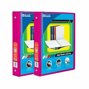Bazic 1 Inch 3 ring View Binder With 2 pockets case Pack Of 24 Fuschia