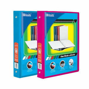 Bazic 1 Inch 3 ring View Binder With 2 pockets case Pack Of 24 Consist 12 cy