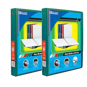 Bazic 1 2 Inch 3 ring View Binder With 2 pockets case Pack Of 24 Green