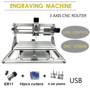 3 Axis 2417 Cnc Router Engraver Pcb Metal Milling Engraving Machine Cutter Usb