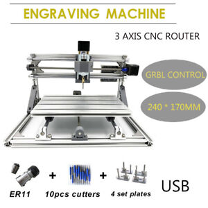 3 Axis Cnc Router Engraver 2417 Grbl Pcb Metal Milling Engraving Machine Usb New