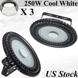 3x 250w Ufo Led High Bay Light Factory Warehouse Gym Lighting Building Fixtures