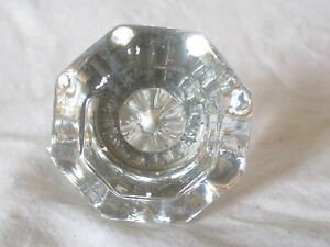 Single Vintage Door Knob Clear Cut Glass Octagon Handle Pull Hardware Antique