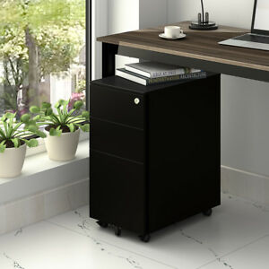 Devais Office Mobile Metal File Cabinet 3 drawer Filing Pedestal Home Furniture