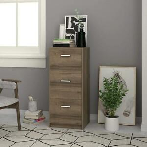3 drawer Wood Filing Cabinet Home Office Storage Furniture File Organizer Gray