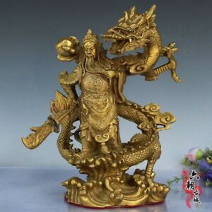 Old Fengshui Brass Guan Gong Yu Warrior God Sword Stand In Dragon Statue