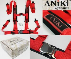 Aniki Red 4 Point Aircraft Buckle Racing Seat Belt Harness W Ultra Shoulder Pad