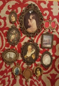 Set 11 Assorted Sizes Vintage Gold Ornate Metal Oval Italy Picture Frame Lot