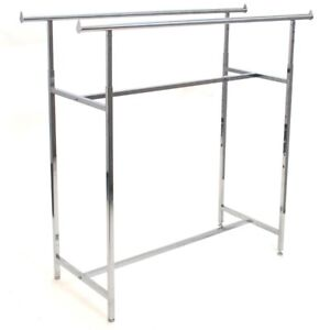 Store Fixture Supplies Double Bar H Style Clothing Garment Clothes Rack