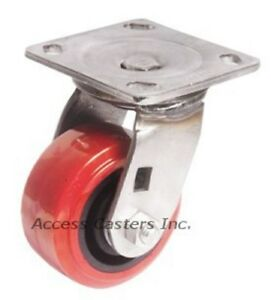 6pssps 6 X 2 Stainless Steel Swivel Caster Polyurethane Wheel 900 Lb Capacity
