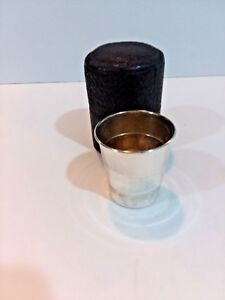Vintage Sterling Silver Traveling Cup With Leather Case