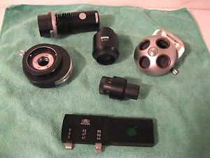 Lot Of 6 Zeiss Microscope Parts Turret Light Condenser Filter Cpl W10x Eyepiece