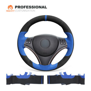 Blue Black Suede Steering Wheel Cover For Bmw 1 Series E81 3 Series E90 E91 E92