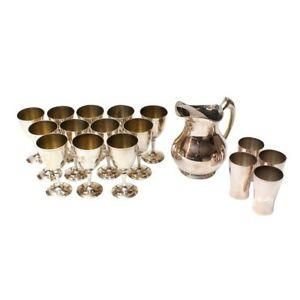 Homan Express Silver Co Silver Plate Drinkware Set Of Pitcher Goblets Cups