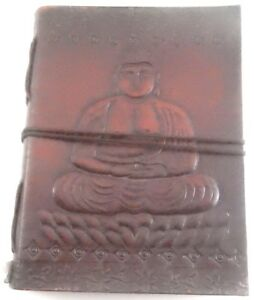 Buddha Embossed Handmade Leather Journal Notepad Notebook Blank Paper Diary D2