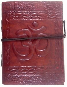 Aum Embossed Handmade Leather Journal Notepad Notebook Blank Paper Diary D5